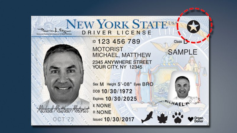 Real ID cards generally include a star to indicate compliance. (TSA)