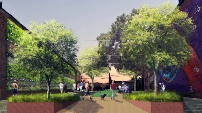 An artist's rendering of streetscape renovations planned for downtown Denison. (Courtesy)