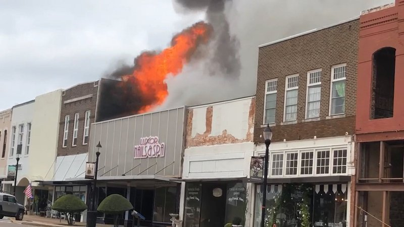 Fire broke out in a downtown Denison commercial building on October 9, 2019. (KTEN)