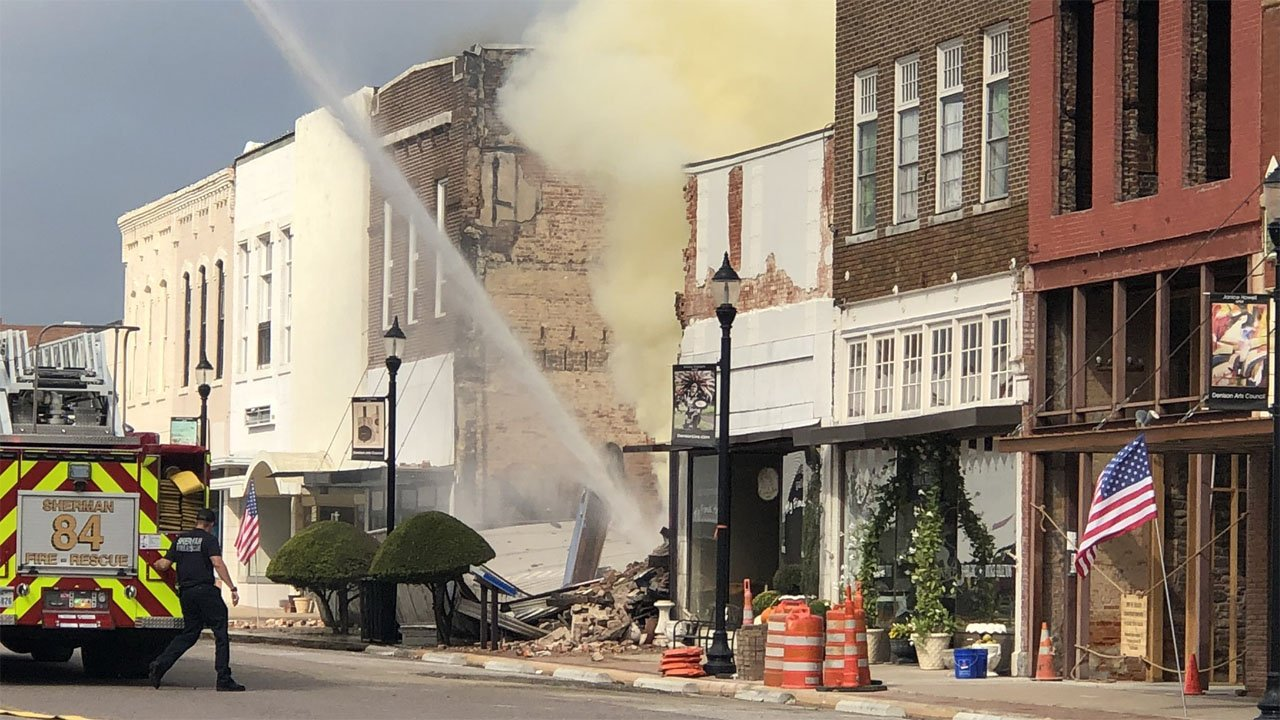 The building at 317 West Main Street in downtown Denison collapsed after a fire erupted on October 9, 2019. (KTEN)