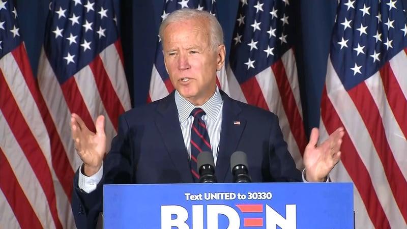 Joe Biden calls for the impeachment of Donald Trump on October 9, 2019. (CNN)