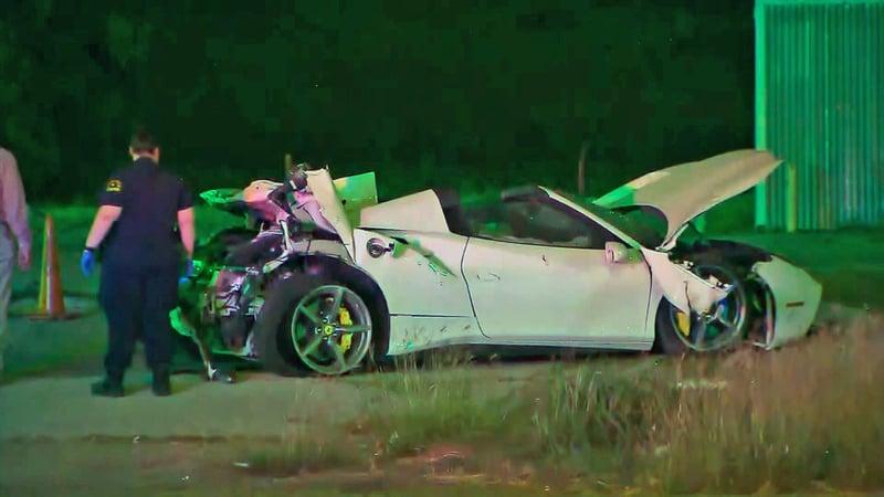 Boxer Errol Spence was injured when his Ferrari crashed in Dallas on October 10, 2019. (KTVT via CNN)