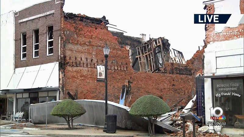 The aftermath of a fire in the 300 block of Main Street in downtown Denison. (KTEN)