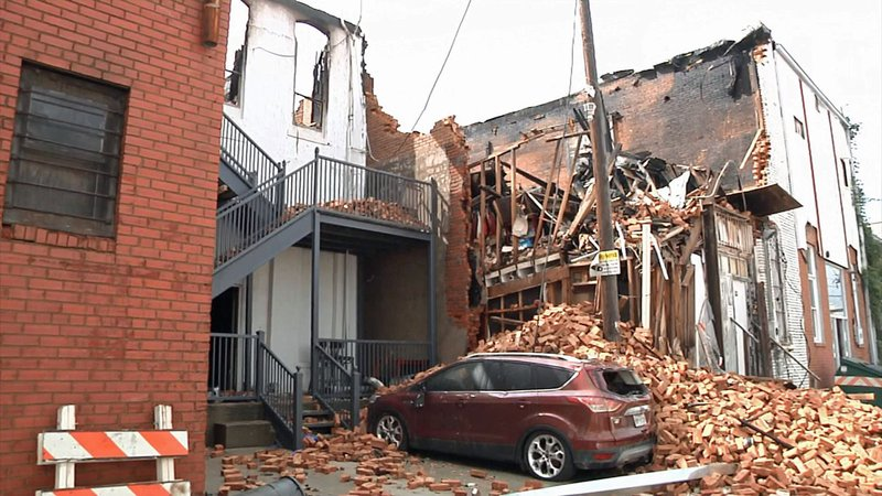 A view from the alley behind buildings that were destroyed or damaged in a downtown Denison fire on October 9, 2019. (KTEN)