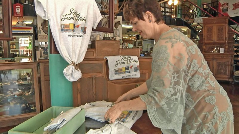 T-shirt sales are helping to raise funds for downtown Denison fire victims. (KTEN)