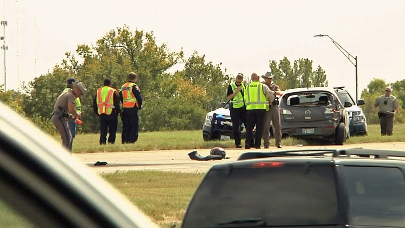 A motorcyclist died in a three-vehicle accident on US 75 in Denison on October 16, 2019. (KTEN)