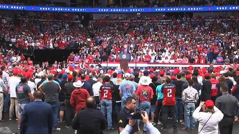 President Trump addresses a campaign rally in Dallas on October 17, 2019. (NBC News)