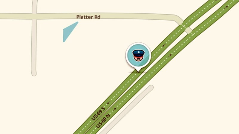 the Waze navigation app pinpoints police activity with an icon. (KTEN)