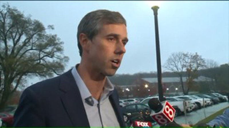 Beto O'Rourke campaigns in Newtown, Connecticut on October 30, 2019. (WTIC via CNN)