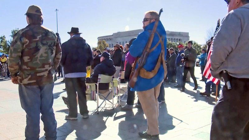 """Gun rights advocates celebrate """"constitutional carry"""" on November 1, 2019. (KOCO)"""