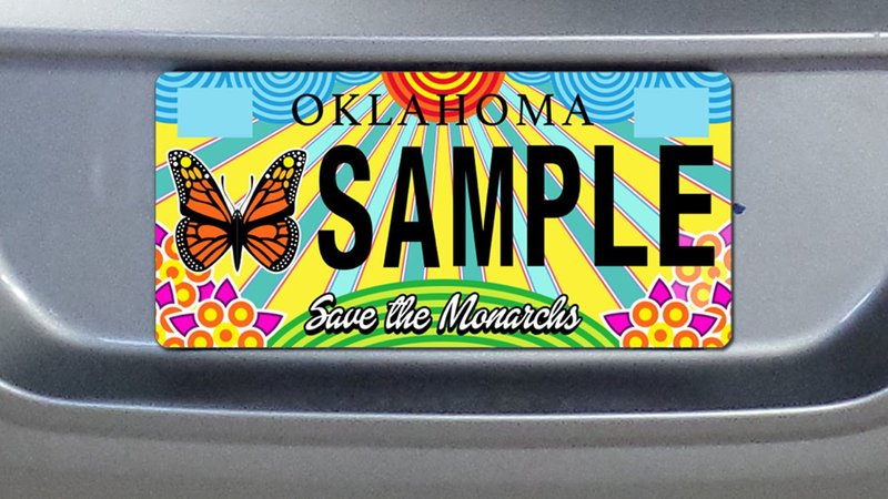 The Oklahoma monarch butterfly license plate is now available for pre-order. (KTEN)