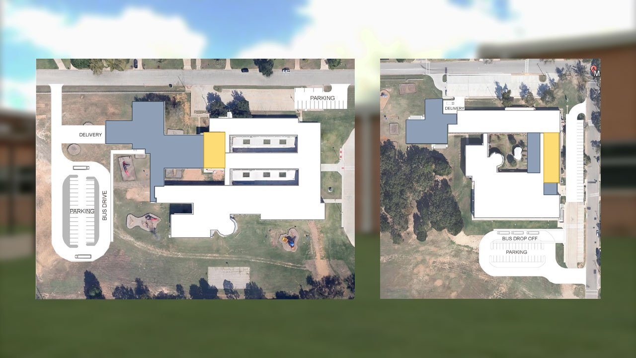 Expansion plans for Hyde Park (left) and Mayes elementary schools in Denison. (DISD/KTEN)