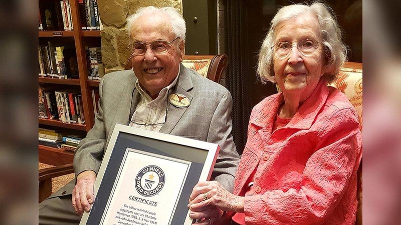 John (106) and Charlotte (105) Henderson are the world's oldest couple. (Courtesy Longhorn Village Senior Living)
