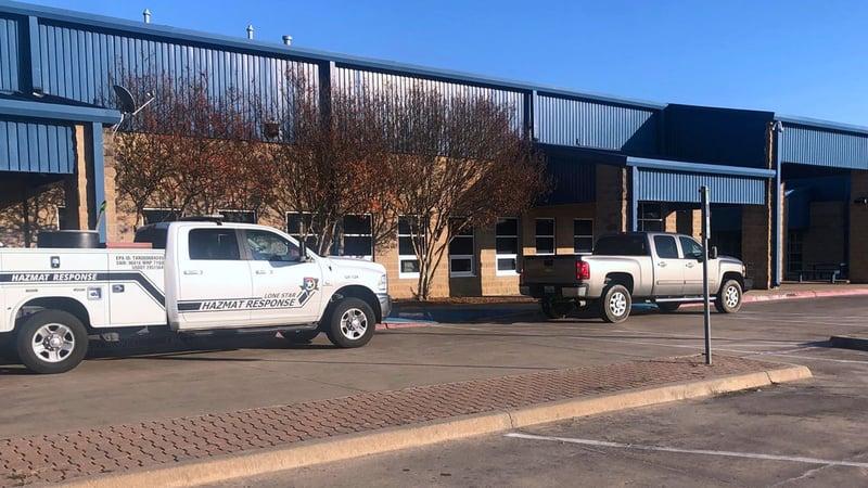 A hazmat unit was called in after a chemical fire at Leonard High School on November 8, 2019. (KTEN)