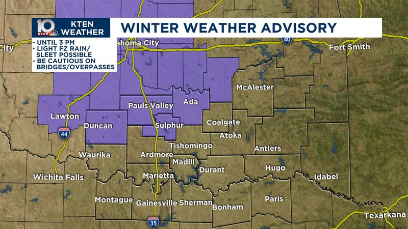 A Winter Weather Advisory was issued for parts of Texoma on November 11, 2019. (KTEN)