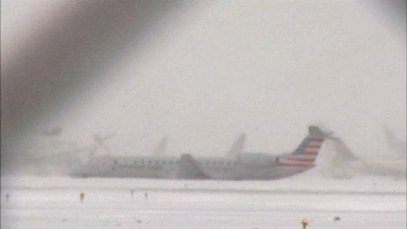An American Eagle flight slid off the runway at Chicago O'Hare International Airport on November 11, 2019. (WLS via CNN)