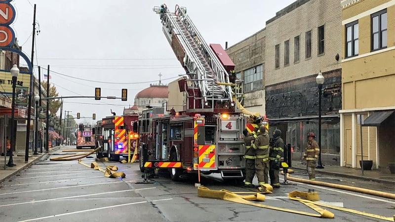 Fire damaged a building in downtown Paris, Texas, on November 11, 2019. (KTEN)
