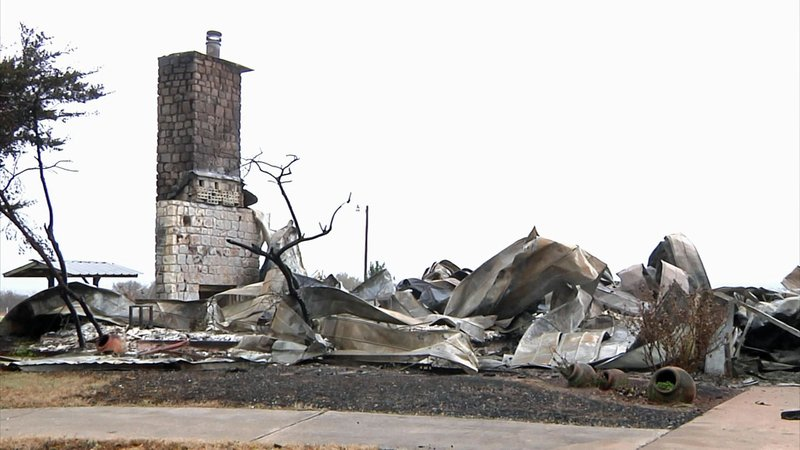 The Ranch House at Red River Ranch burned to the ground on November 10, 2019. (KTEN)
