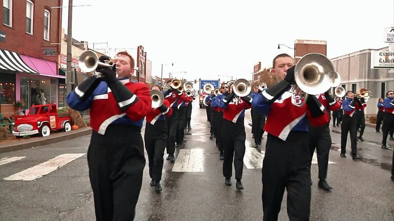 A marching band at the Durant Veterans Day Parade.  (KTEN)