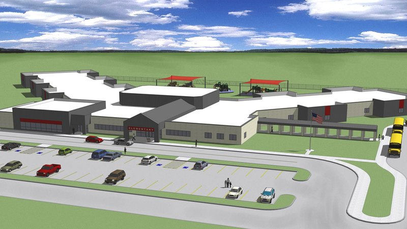 An architectural drawing of the new Pauls Valley elementary school. (Redland Childers Architects)