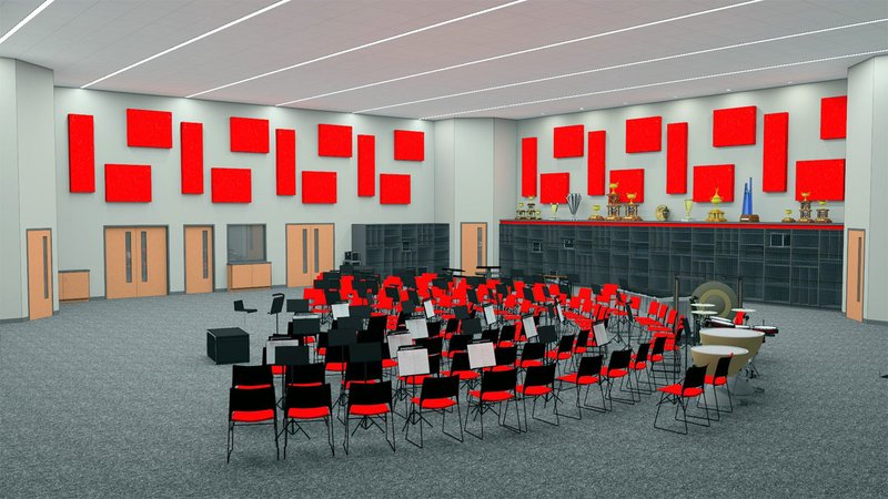 Here's what the new Pauls Valley High School band building will look like inside. (Redland Childers Architects)