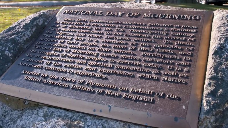 A plaque on Cole's Hill in Massachusetts recognizes the counter-commemoration on Thanksgiving. (CNN)