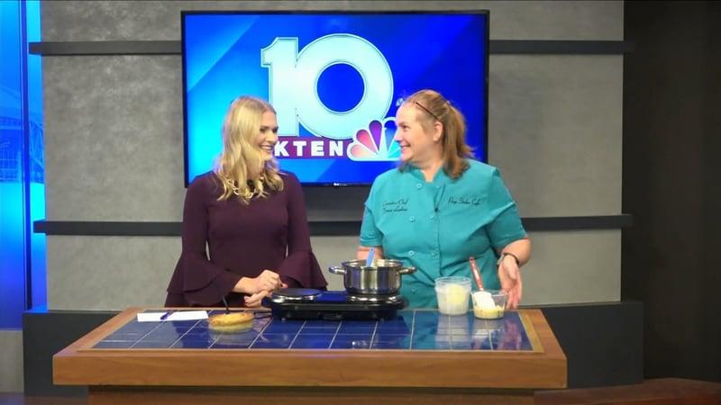 Chef Diana Larkins shows KTEN's Carley Banks how to make a Turkey Pot Pie. (KTEN)