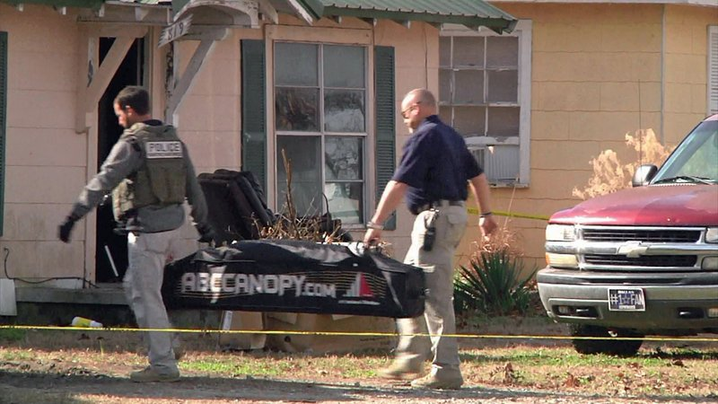An evidence team arrives at the scene of a fatal officer-involved shooting in Ada on December 3, 2019. (KTEN)