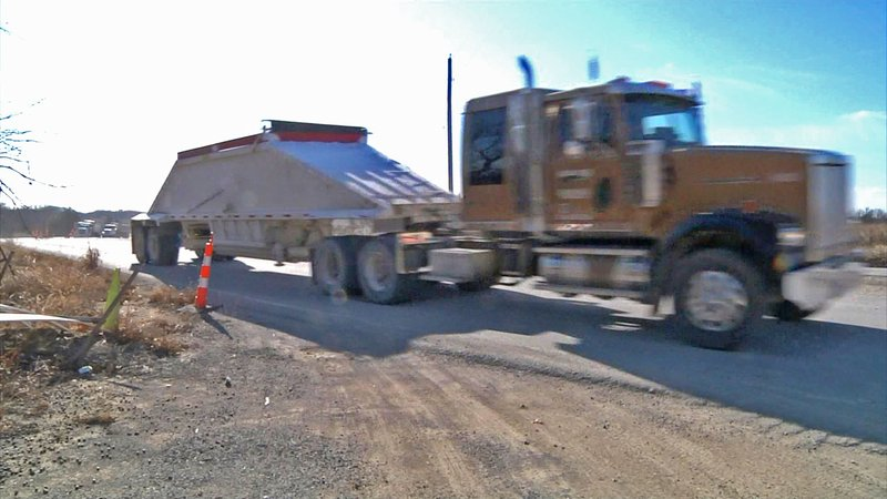 Work is underway to upgrade County Line Road on the border of Carter and Love counties. (KTEN)