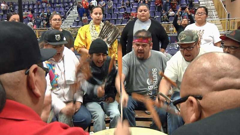 Native American drummers at the 2019 Choctaw Pow Wow in Durant. (KTEN)