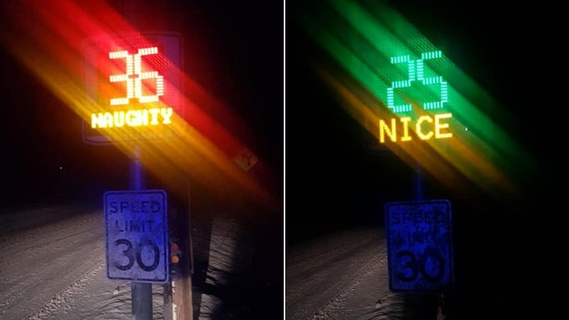 """Chester, Vermont traffic radar flashing """"naughty"""" and """"nice."""" (Chester PD/Facebook)"""