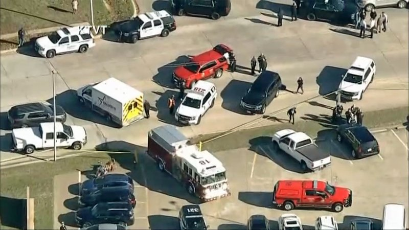 Emergency vehicles surround West Freeway Church of Christ in White Settlement, Texas. (KTVT via CNN)