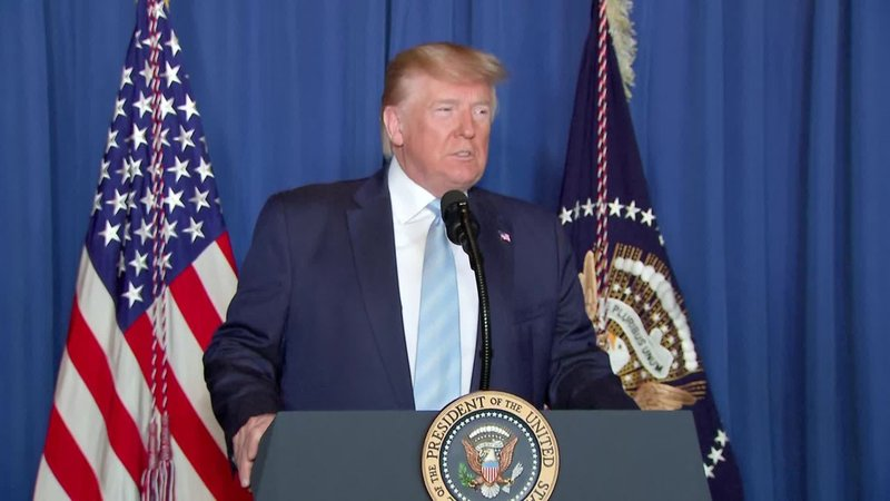 President Trump addresses the nation about Iran on January 3, 2020.  (CNN)