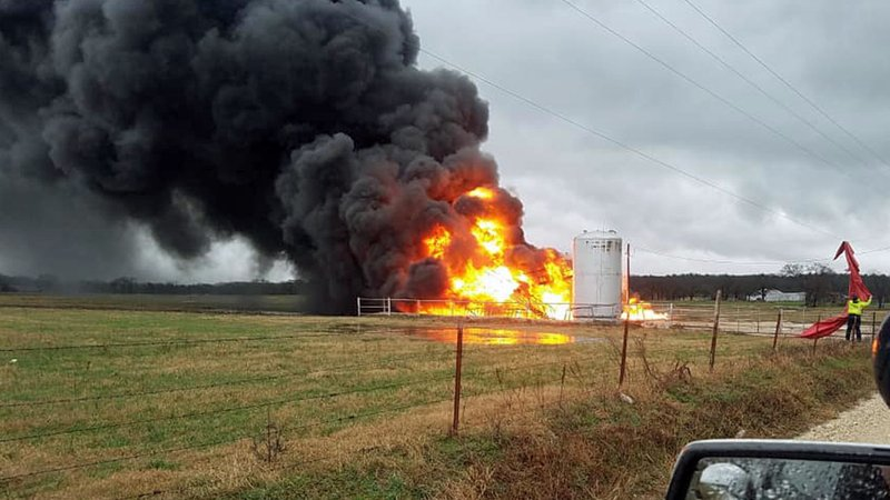 A tank battery fire raged in Cooke County on January 10, 2020. (Courtesy Cooke County Emergency Management)