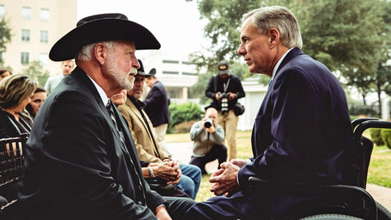 Jack Wilson, left, was honored by Texas Gov. Greg Abbott on January 13, 2020. (Courtesy Office of the Governor)