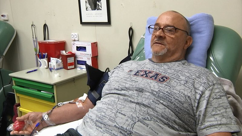 Tommy Caras is a loyal and regular donor at Texoma Regional Blood Center. (KTEN)
