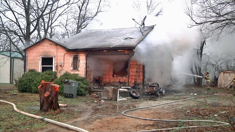 A couple broke through a window to escape this fire at a Calera residence on January 17, 2020. (KTEN)