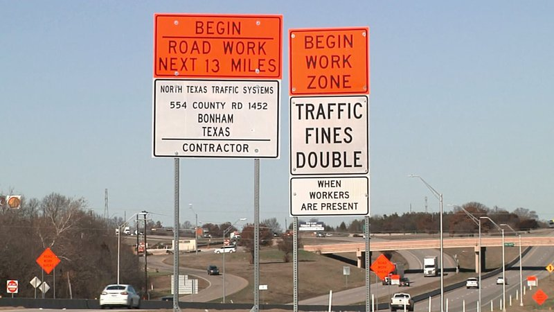 Motorists are urged to use caution on US 75 in Sherman during construction. (KTEN)