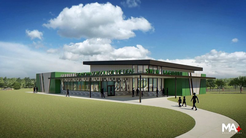An architectural rendering of the new aquatics center planned for the Oklahoma School for the Deaf. (Courtesy)