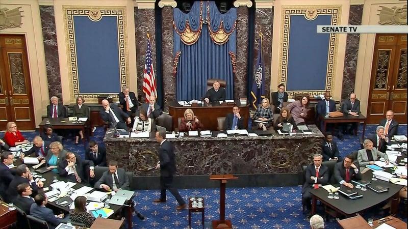 The Senate chamber during the impeachment trial of President Trump. (Senate TV via NBC News)